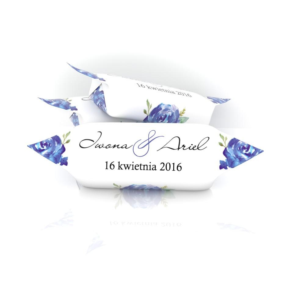 krówki ślubne niebieskie róże