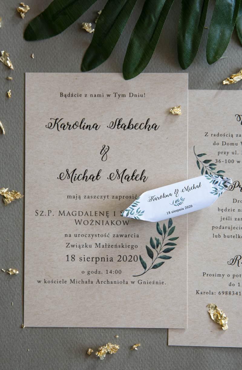 Krówki ślubne z motywem listka